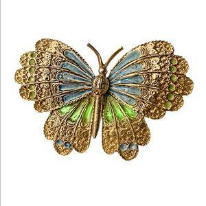 Vintage JJ Gold plated enamel Butterfly brooch pin